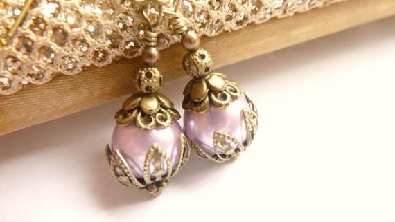 Lilac earrings purple pearl earrings Vintage dangles pale lilac purple glass pearl drops