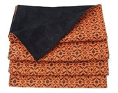 Cloth Dinner Napkins-Orange & Black- Reversible-Cotton- Set of 4