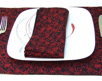 Cloth Placemats- Red Hollyhock Leaves on Black- Reversible-Cotton- Set of 4