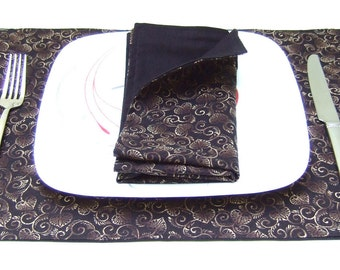 Cloth Placemats- Brown Beige Hollyhock Leaves on Black- Reversible-Cotton- Set of 4
