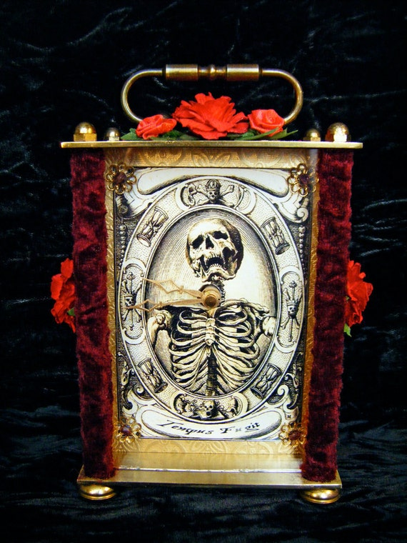 "Vintage-Style Gothic Memento Mori Boudoir Clock, ""The Grim Reaper"""