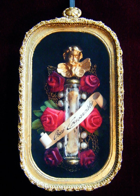 "Bones of the Blessed, ""Ossi Consecratii"": Vintage-Style Gothic Memento Mori Shadowbox Reliquary"
