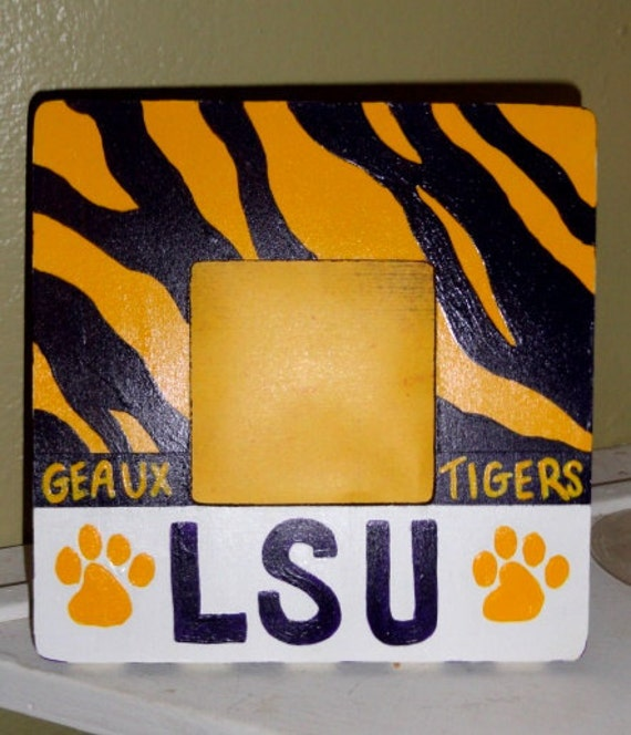 LSU Geaux Tigers Hand Painted Wood Frame