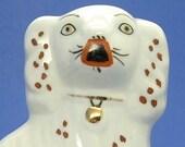 Staffordshire Dog Mantle Dog England Rust White Gold Lock 1930s Spaniel Dog