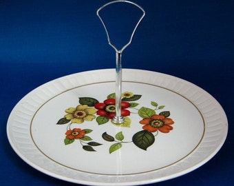 Mid Century Palissy England Tidbit Server Cake Plate With Handle Retro Groovy