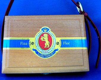 Cigar Box Purse Robusto Lion Cigars Wood Box With Leather Handle Upcycle