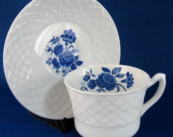 Cup And Saucer Basketweave Ironstone Blue Roses England Vintage Teacup 1950s