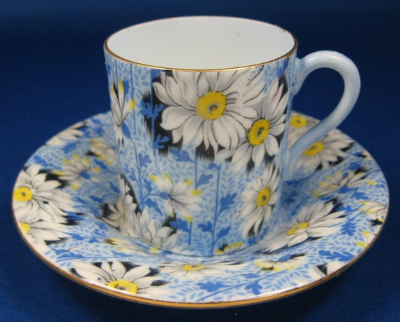 Vintage Blue Daisy Chintz Shelley Cup And Saucer Mocha Demitasse