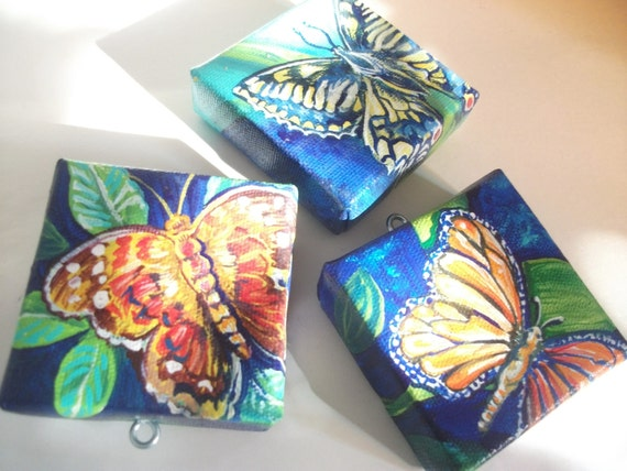 Colorful Butterflies Nature Series, Set of 3 Teeny Tiny Original Paintings