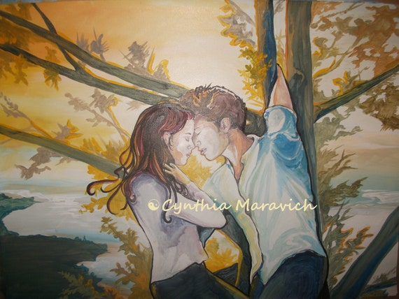 Twilight-Inspired Bella and Edward Original Painting, mixed media