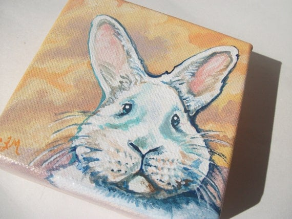 The Releuctant Rabbit, Original Painting on tiny chubby canvas