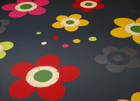 green, yellow, red, and pink flowered floorcloth - canvas art for your floor - charcoal gray