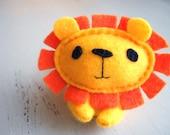 Yellow Felt Lion - Tiny Jungle Buddy - Stuffed Animal / Plush / Softie / Small Toy