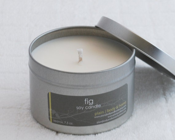 CLEARANCE Fig Soy Candle 8 oz. tin - floral lemon lime soy scent