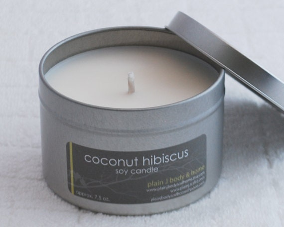 CLEARANCE Coconut Hibiscus Soy Candle Tin 8 oz. - tropical fruity soy candle scent