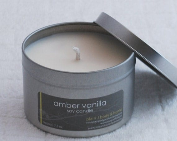 CLEARANCE Amber Vanilla Soy Candle Tin 8 oz. - musky vanilla unisex soy scent