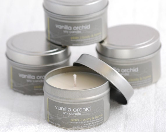 Vanilla Orchid Soy Candle Tin 4 oz. - exotic vanilla scented soy candle