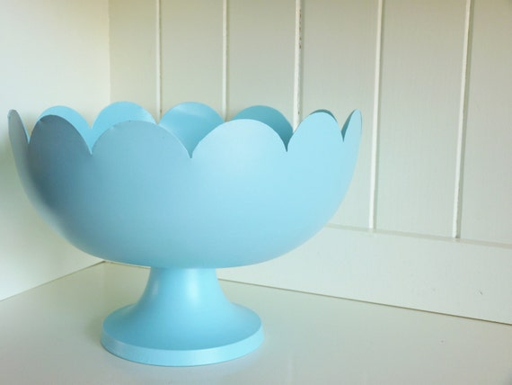 Scalloped Edge, Pedestal Fruit Bowl - Robin's Egg
