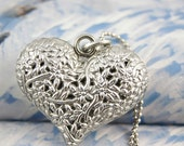 Heart bead engraved necklace charm pendant flower grass  print  antique  Silver ON0303-S