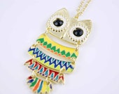 colorful Owl necklace pendant charm  ON0243