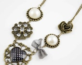 heart beaded bow flower bow crystal necklace antique brass chain pendant charm ON0039