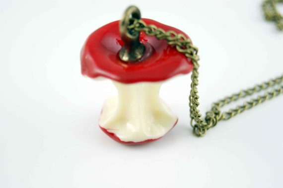 Red Apple necklace charm pendant vintage ON0091-R