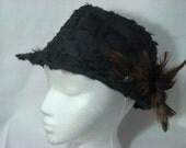 Black Feathery Fedora Hat