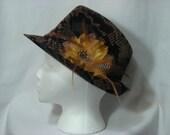 Bronze and Black Tweed Fedora Hat