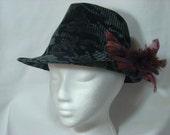 Teal and Black Tweed  Fedora Hat