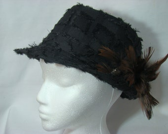 Black Feathery Fedora Hat