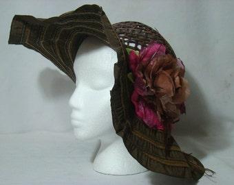 Brown Widebrim Untrimmed Dress Hat