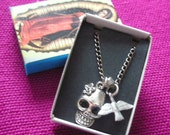 Mexican skull charm necklace