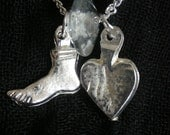 Silver Heart & Foot milagros- Mexican necklace