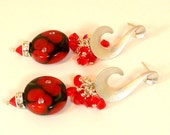 Red Poppy Lampwork Bead Earrings