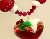 Christmas Heart Lampwork Necklace