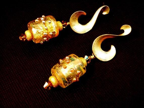 Lampwork Earrings Golden Elegance