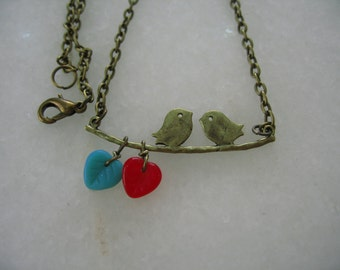 Handmade Cute Spearmint Green and Red Themed Antique Gold Bronze Kissing Birds in Love Necklace