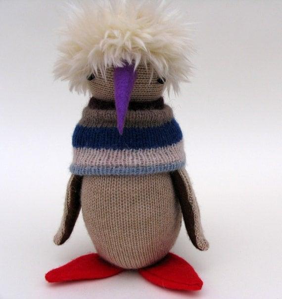 Woollen Penguin - Handmade plush sculpture with oatmeal wool body and furry cream hair - with purple felt beak and red felt feet.
