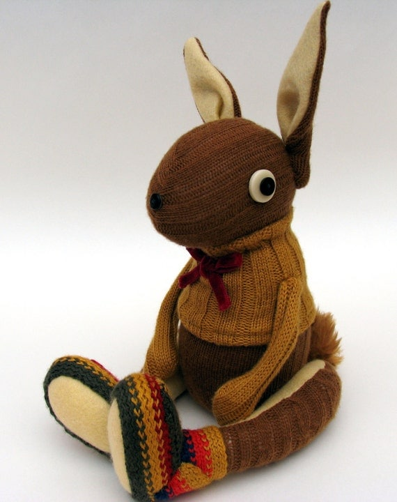 Woollen Rabbit - Handmade plush sculpture - brown woollen body with flesh coloured felt ears - wearing mustard woolly pullover.