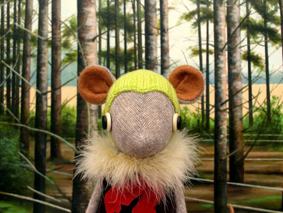 Oatmeal Woollen Mouse - Handmade plush sculpture - oatmeal woollen body with felt ears and tail - wearing tunic,woolly hat and boots.