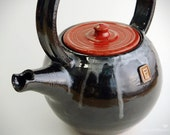 Teapots - Kettles - ceramics - pottery handwork - small ceramic teapot - Kettle black and red - the volume of 0.9 liter