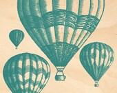 Timber Postcard - Hot Air Balloons (blue-green)