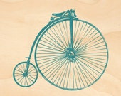 Timber Postcard - Penny Farthing (blue-green)