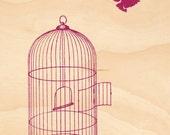 Timber Postcard - Liberty Bird (Mulberry)