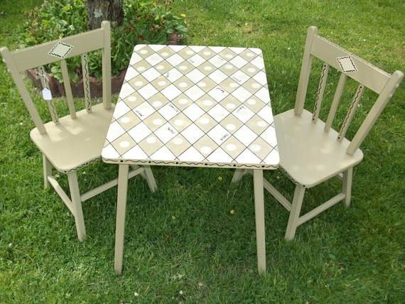 Re-evisioned Table with Two Chairs for Children's Play or Plant Display