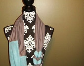 Blue and Gray Jersey Knit Braided Infinity Scarf