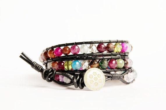 FREE SHIPPING - Mixed Stones Triple Wrap Leather Bracelet, Multicolor Agate Bracelet