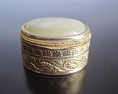 Vintage Gold Toned Pill Box Trinket Box