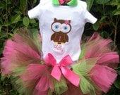 Owl Birthday tutu set for Megan