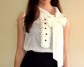 RESERVED: Vintage Sheer Sleeveless Blouse with Bow